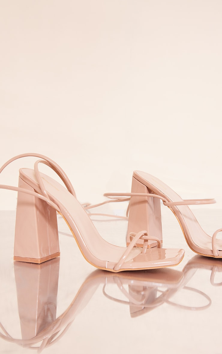 Nude Patent PU Toe Loop Strappy Heeled Sandals 3