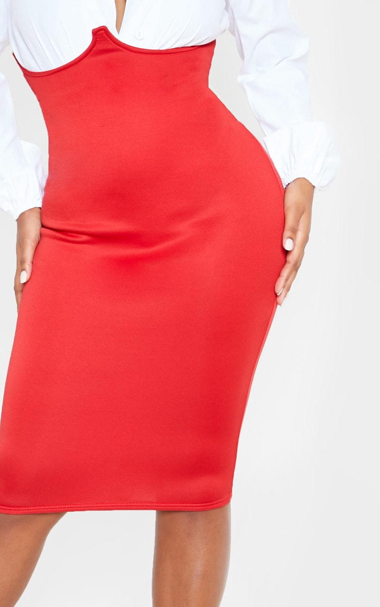 Red Scuba Bustier Midi Skirt 6