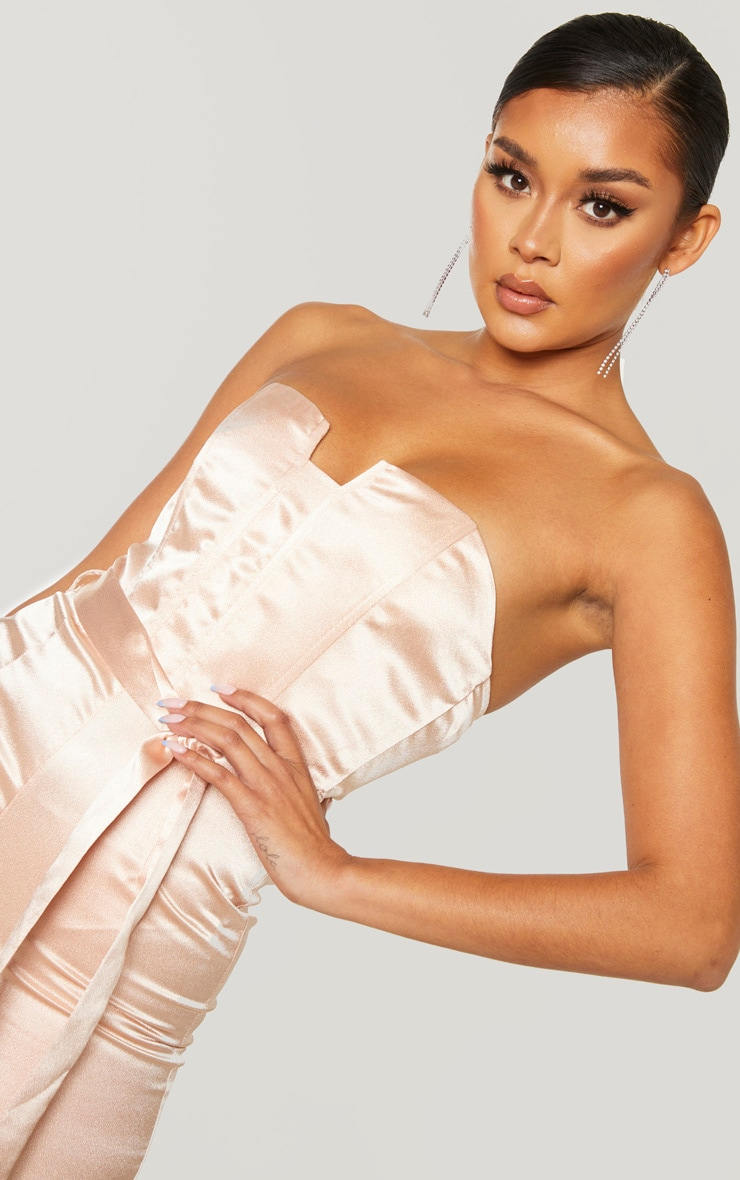 Dusty Pink Corset Detail Tie Waist Satin Jumpsuit 4