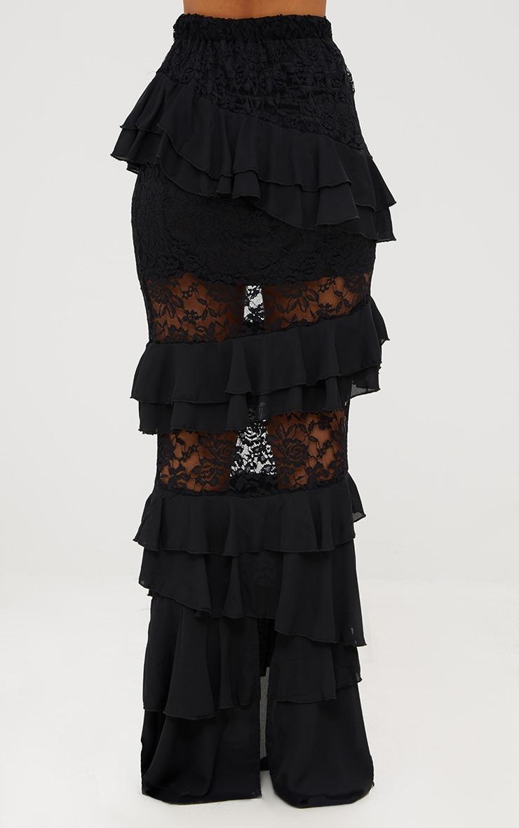 Black Lace Frill Detail Maxi Skirt 4