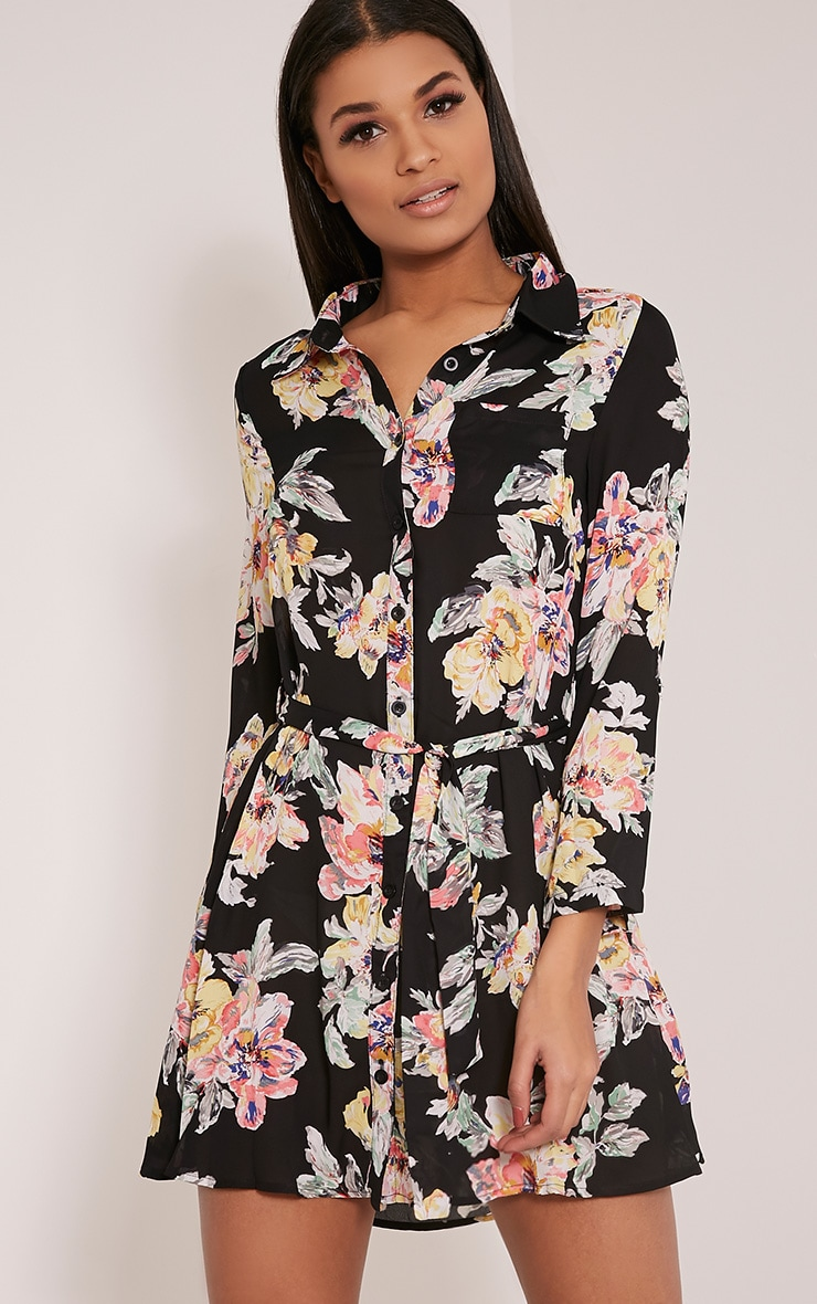 Halina Black Floral Shirt Dress 4