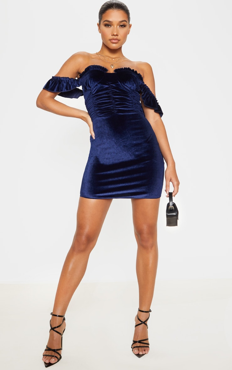Navy Sleeveless Ruched Detail Bodycon Dress 4