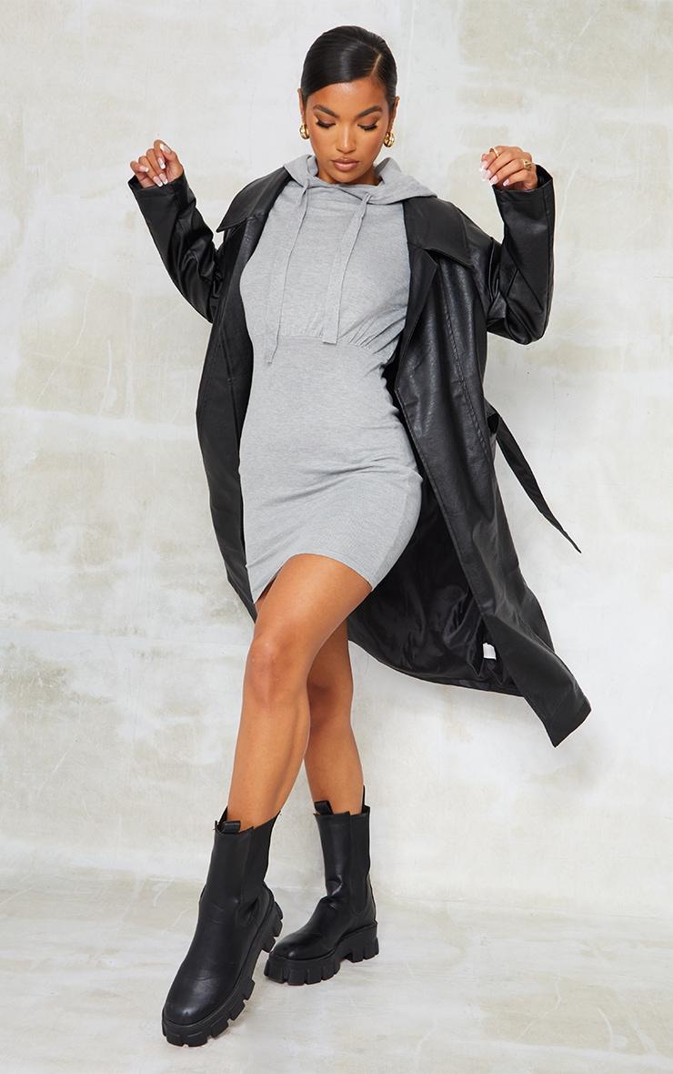 Mini robe en maille tricot grise à capuche 3
