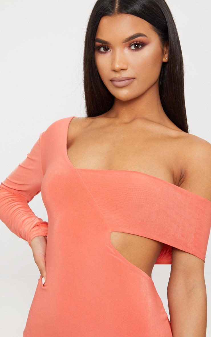Coral Double Layer Slinky One Sleeve Strap Detail Midaxi Dress 4
