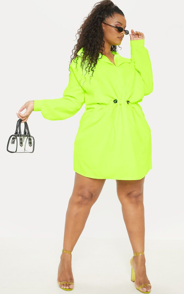 Plus Neon Lime Toggle Waist Shift Dress