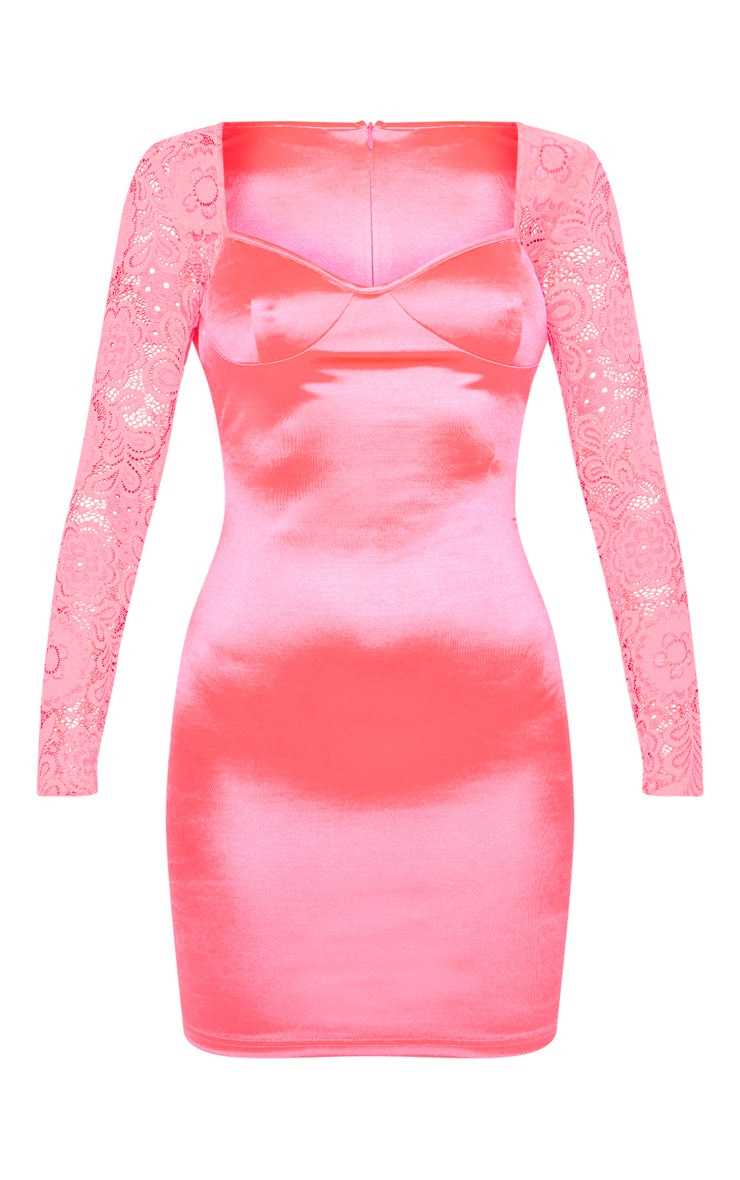 Hot Pink Satin Lace Sleeve Bodycon Dress 3