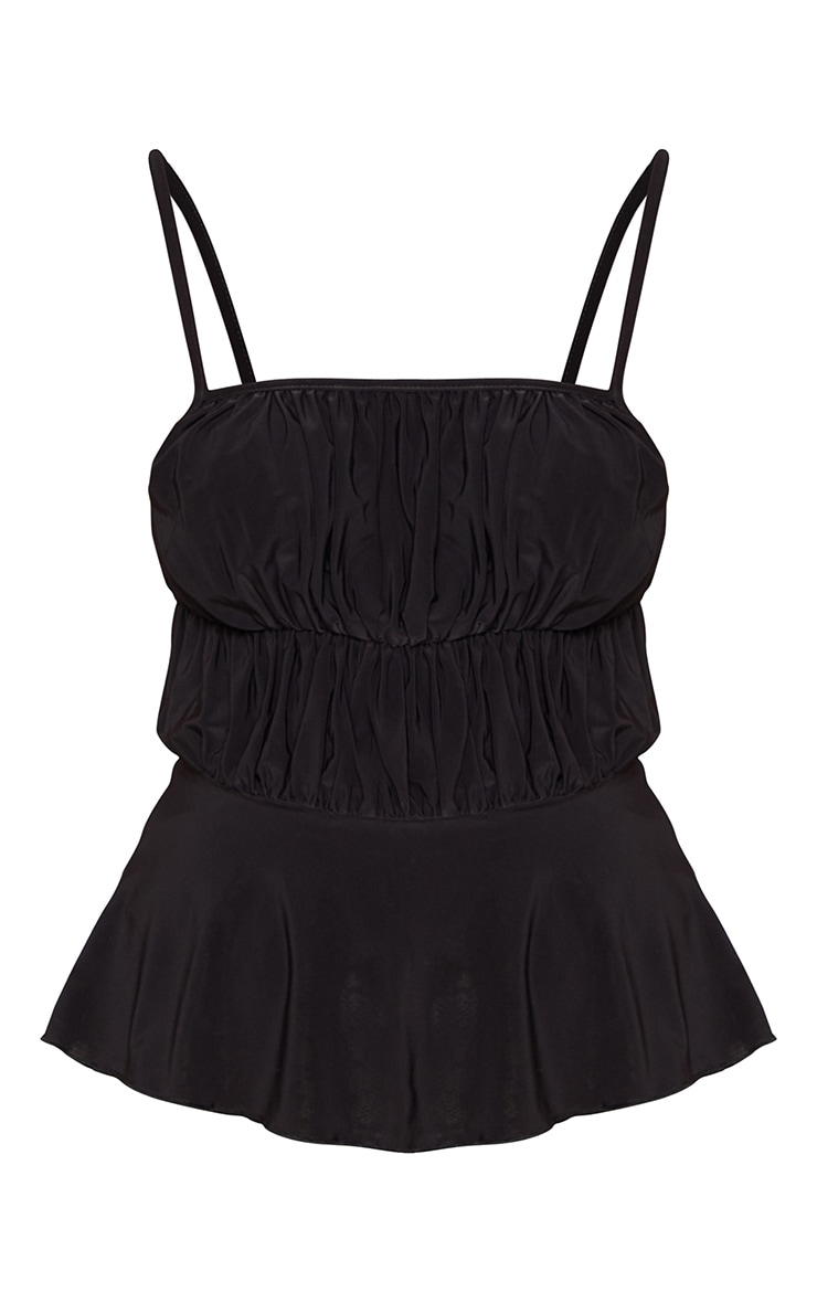 Black Slinky Tiered Ruched Strappy Top 3
