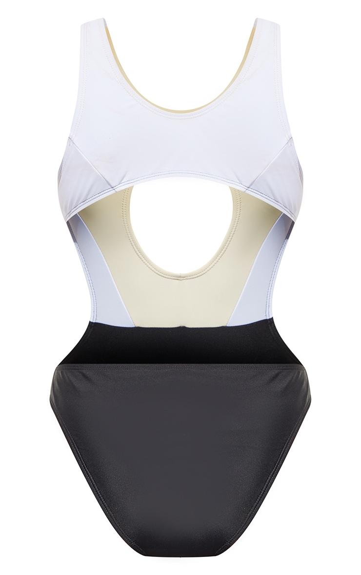Black Extreme Cut Out Colour Block Swimsuit 5