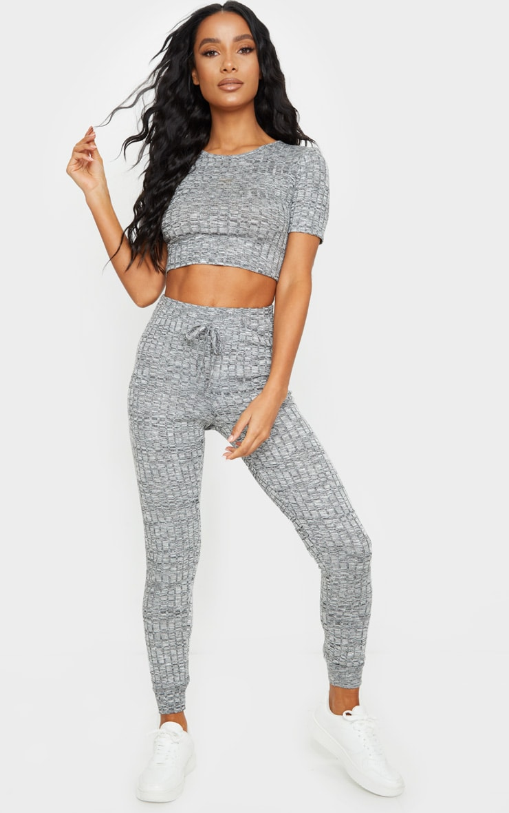 Grey Knitted Tee And Jogger Set 3