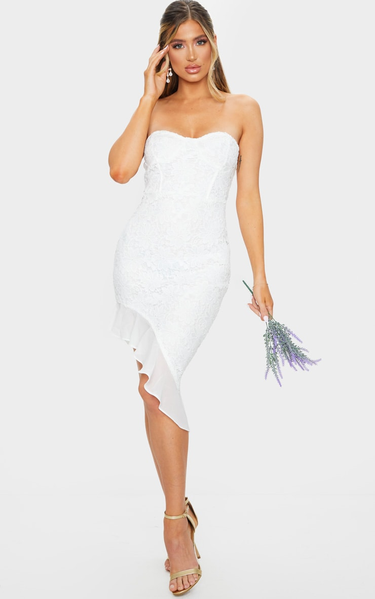 White Lace Bandeau Chiffon Frill Bodycon Dress 1