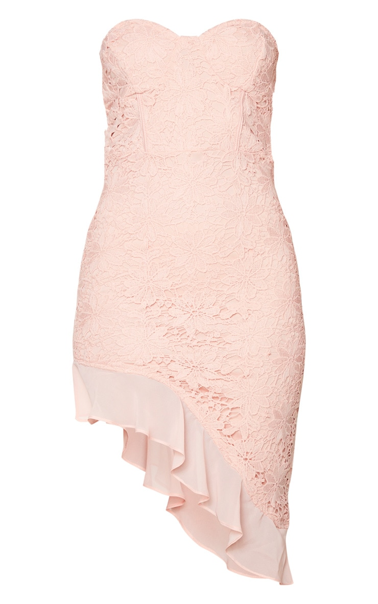 Dusty Pink Lace Bandeau Chiffon Frill Bodycon Dress 5