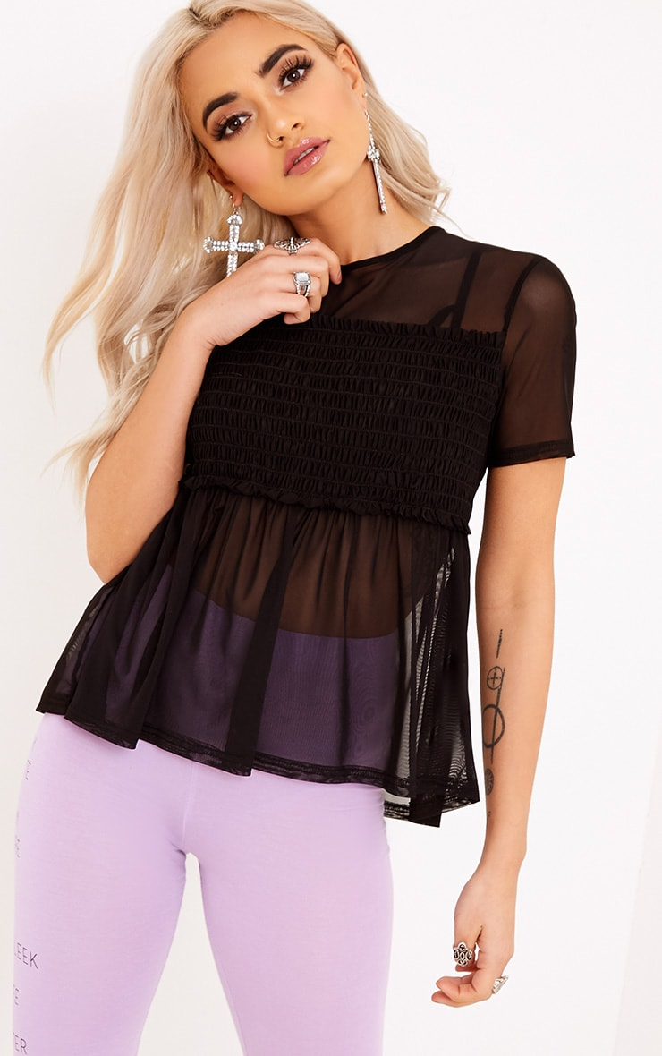 Kaylee Black Sheer Mesh Ruched T Shirt 4