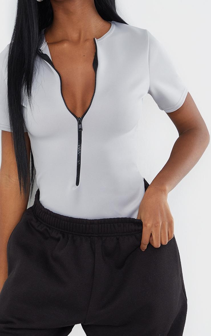 Light Grey Bonded Scuba Zip Up Short Sleeve Bodysuit 4