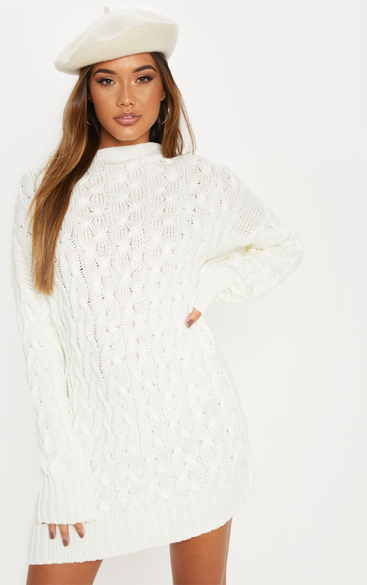 Cream Cable Detail Knitted Jumper Dress  4