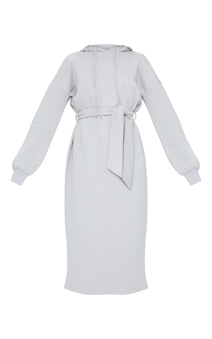 Grey Waist Tie Long Sleeve Midi Sweat Jumper Dress 5