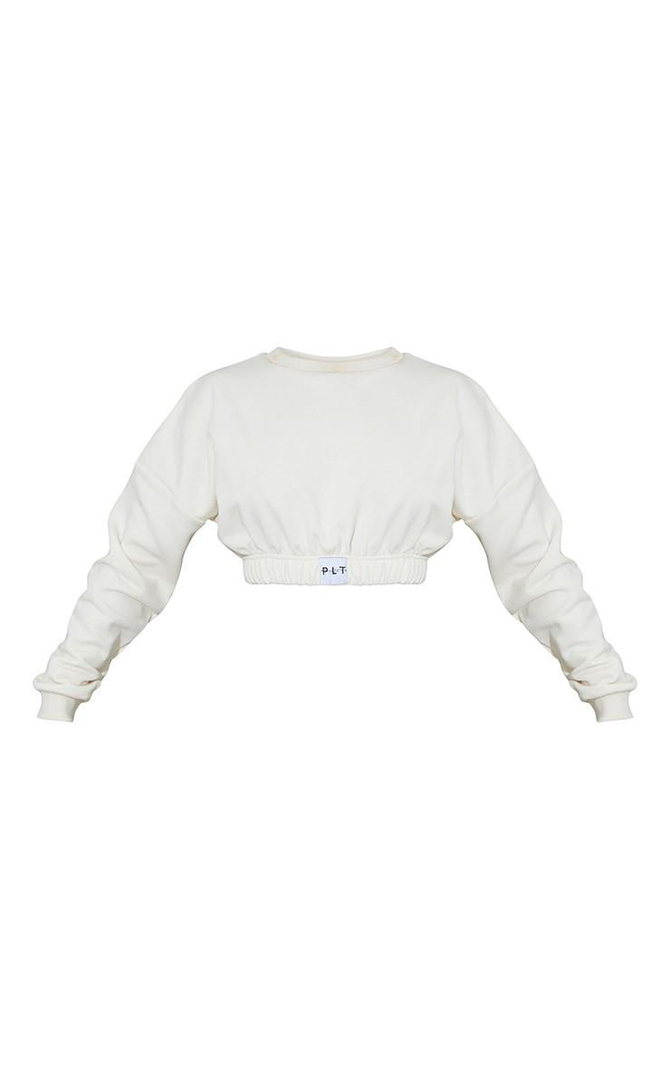 PRETTYLITTLETHING Cream Elasticated Hem Long Sleeve Crop Sweater 5