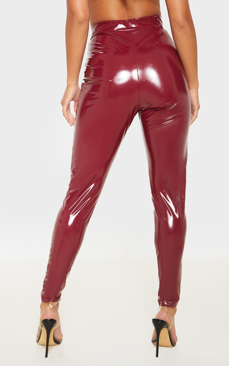 Petite Burgundy Vinyl Zip Detail Pants 4
