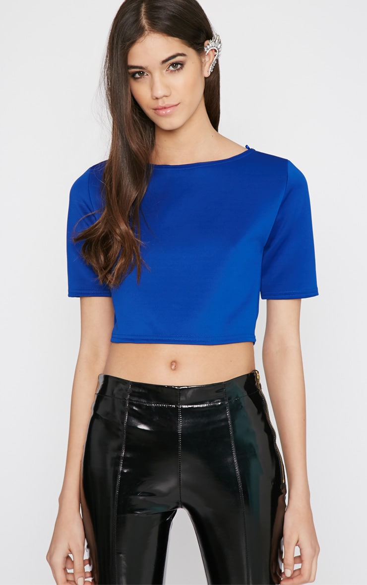 Eliza Blue Scuba Crop Top 1