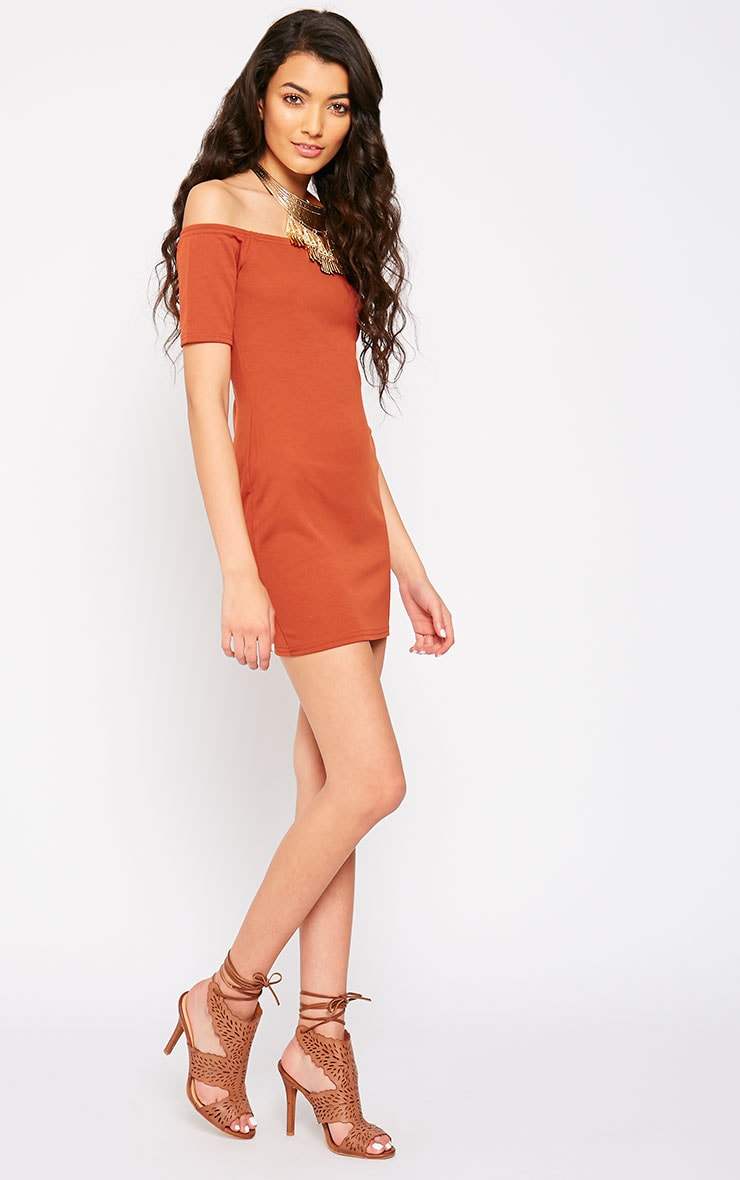 Tobiah Rust Bardot Bodycon Dress 3