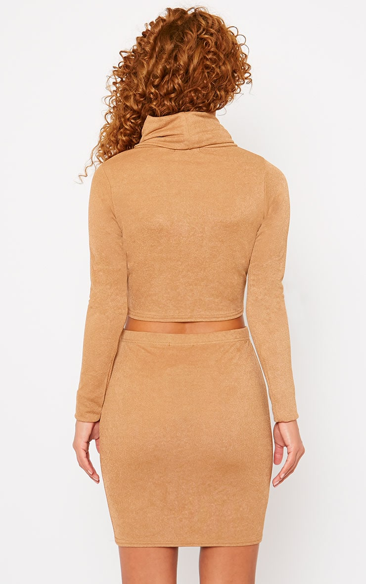Emilia Camel Crepe Roll Neck Crop Top  2