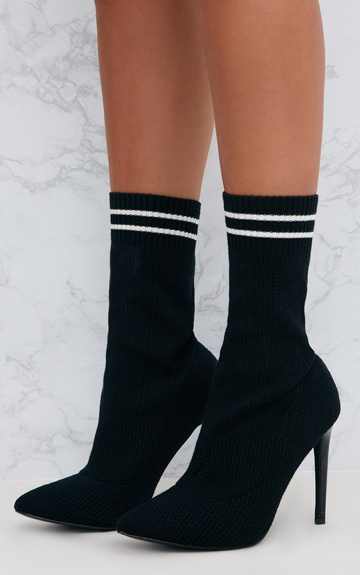 Black Sports Stripe Ankle Sock Boot 2