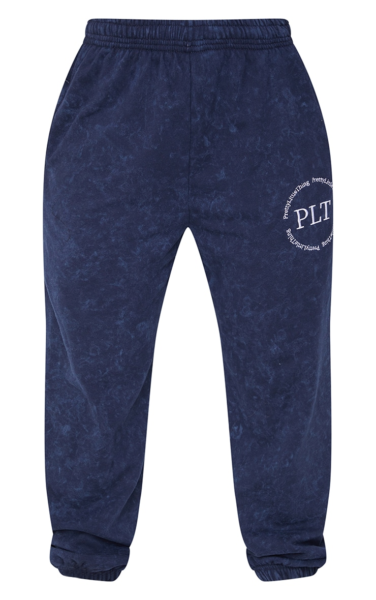 Navy Washed Health Club Embroidered Casual Joggers 5