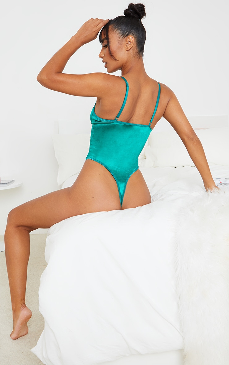 Emerald Green Lace Up Lace And Satin Body 2