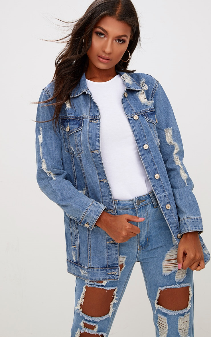Mid Wash Distressed Long Line Denim Jacket 1