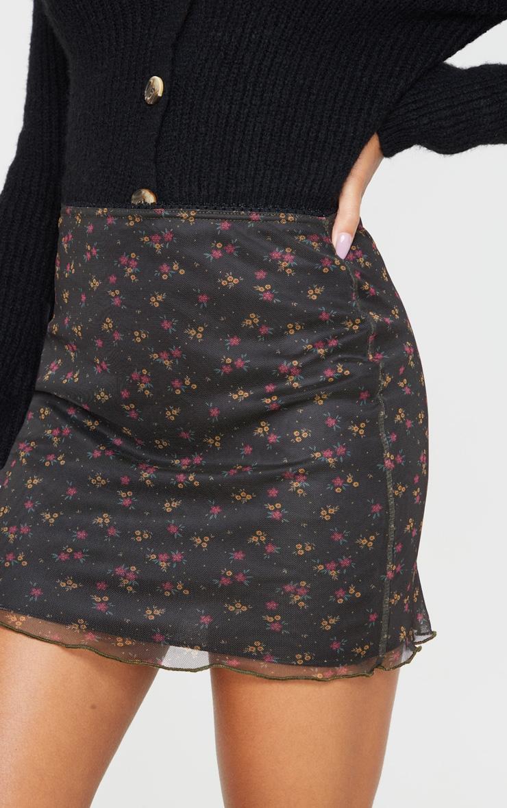 Black Ditsy Floral Print Mesh Lettuce Hem Skirt 6
