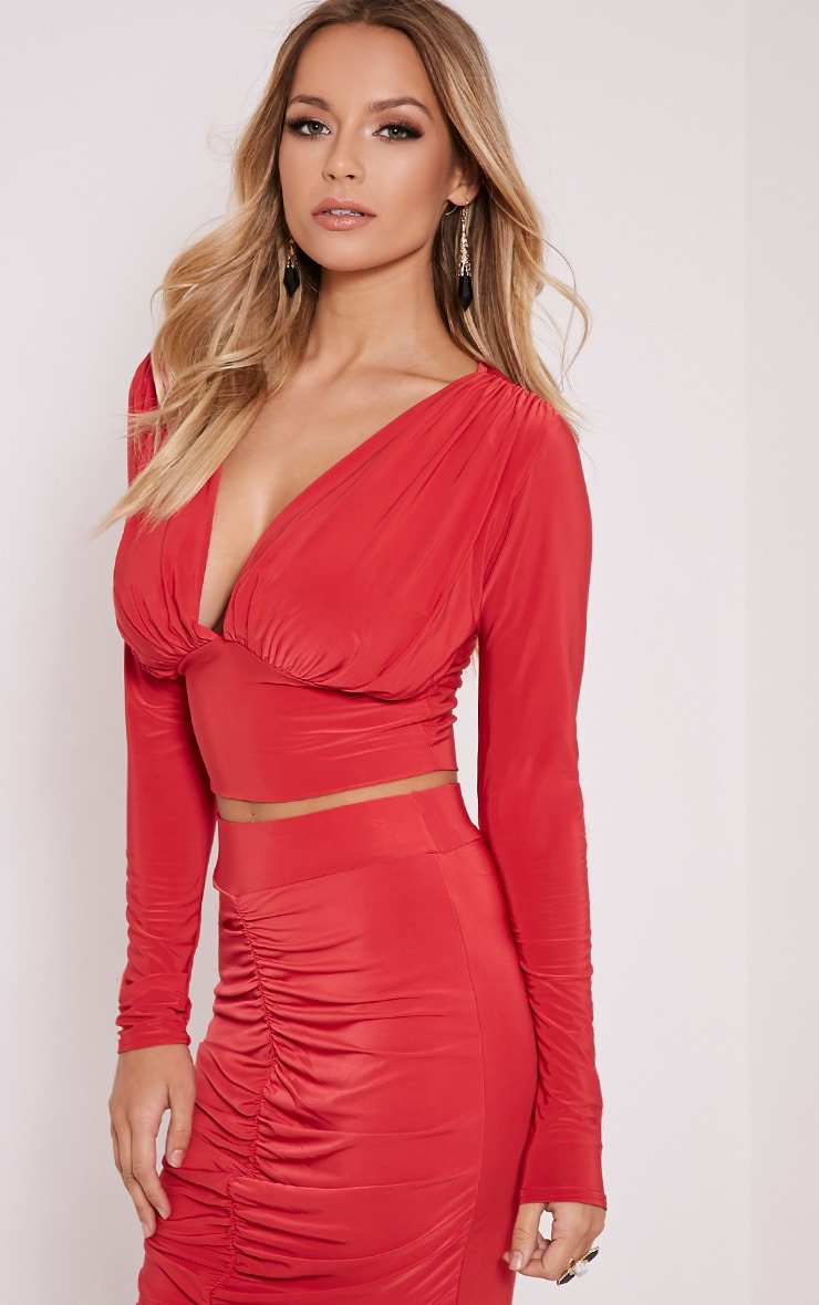 Nicole Red Slinky Ruched Crop Top 4