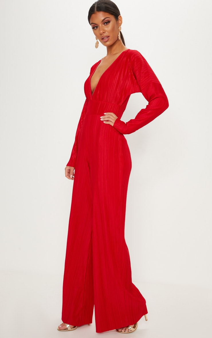 Red Long Sleeve Pleated Jumpsuit 4