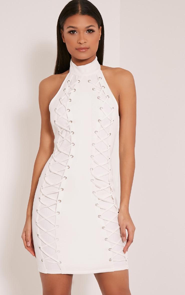 Milla Cream Lace Up High Neck Bodycon Dress 1