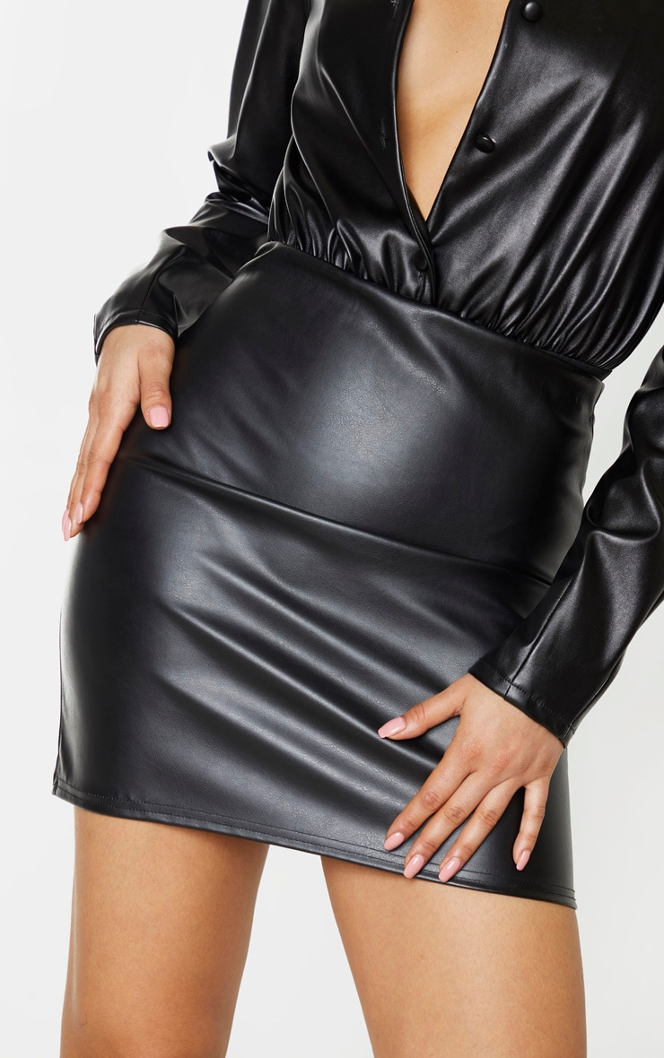 Tall Black PU Mini Skirt 6
