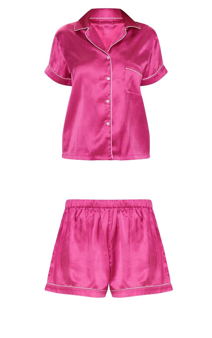 Fuchsia Short Satin Pyjama Set  3