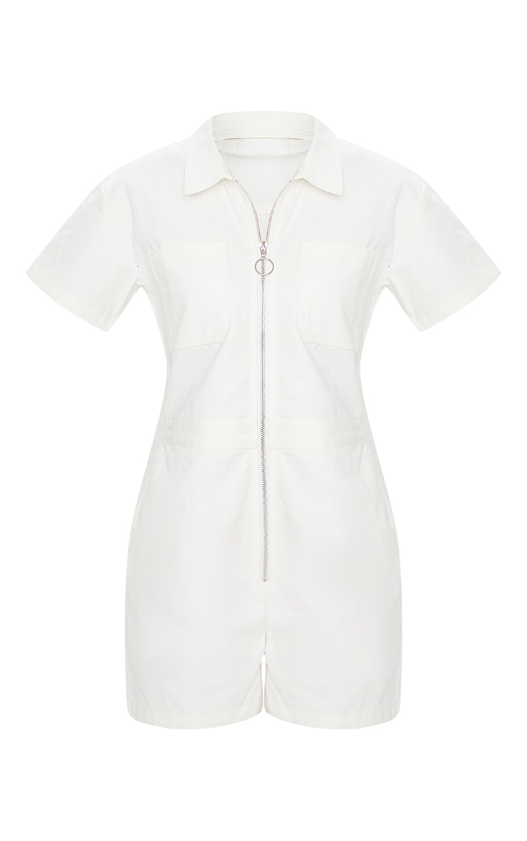 White Zip Up Pocket Short Denim Romper 4