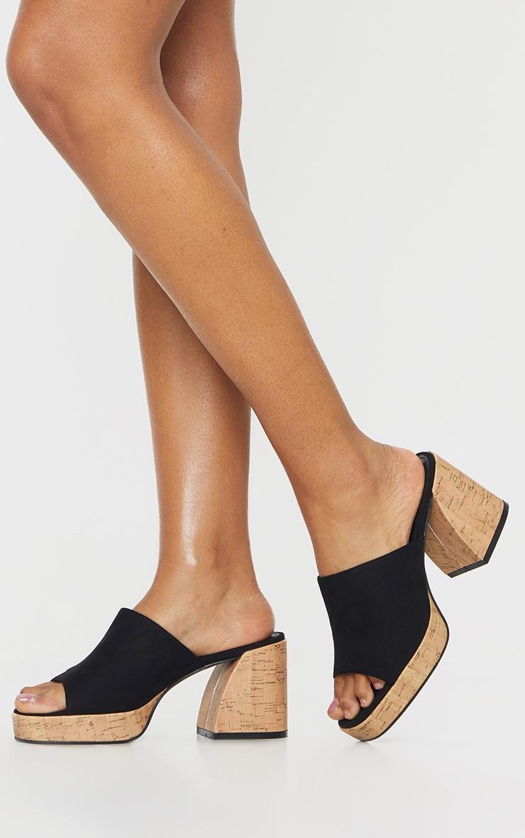 Black Cork Extreme Chunky Heel Platform Mules 1