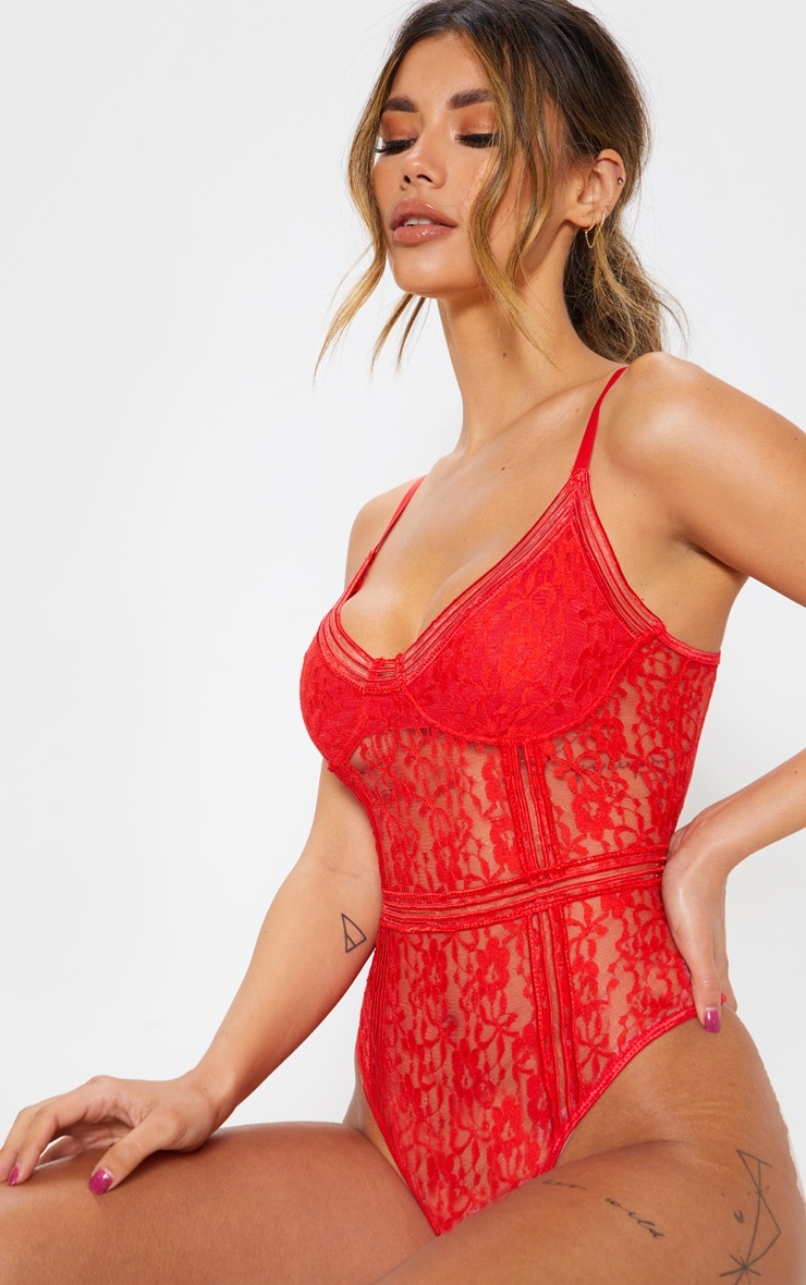 Red Lace Cupped stripe Lace Body 6