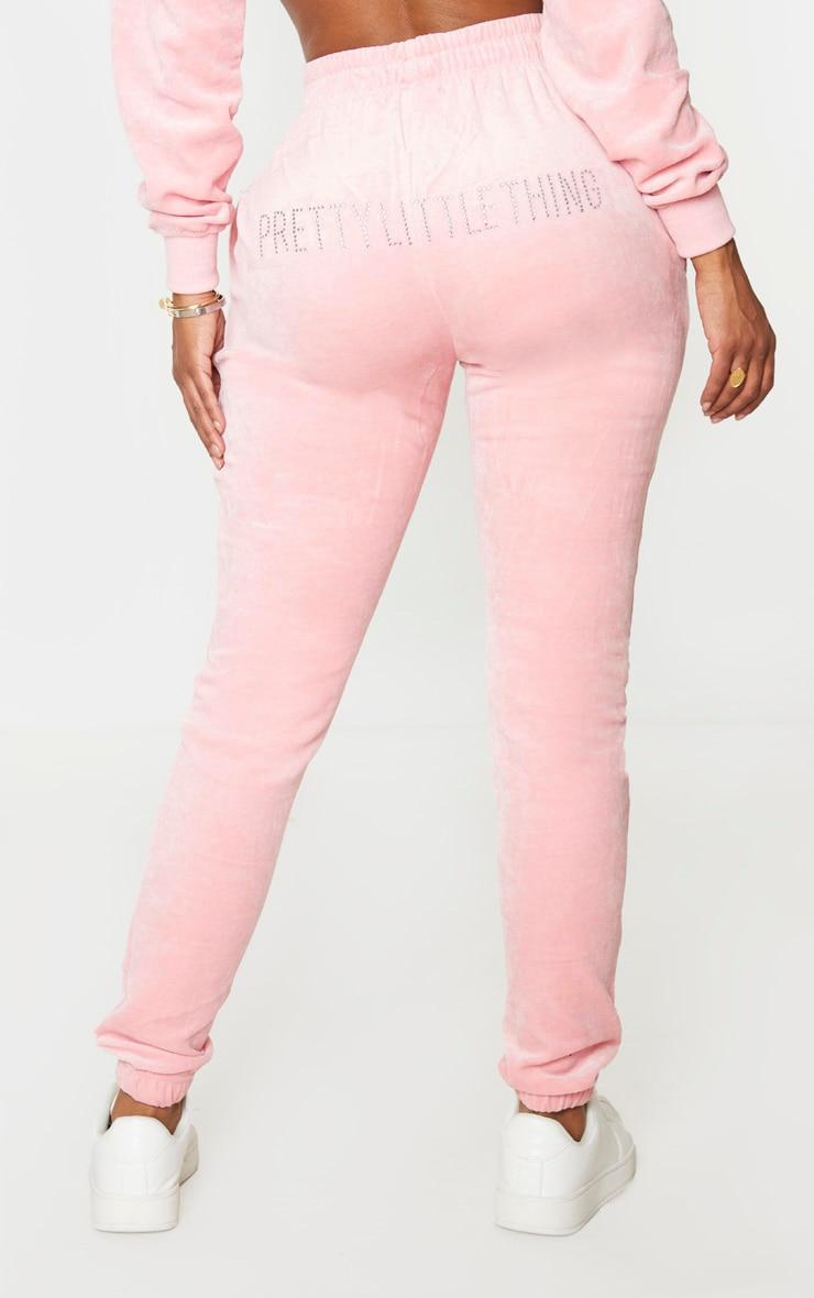 PRETTYLITTLETHING Shape Dusty Pink Velour Skinny Jogger 3