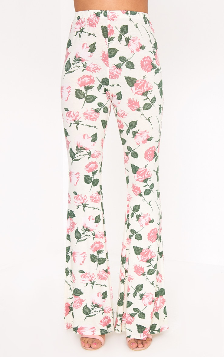 Stone Floral Print Jersey Flared Trousers 2