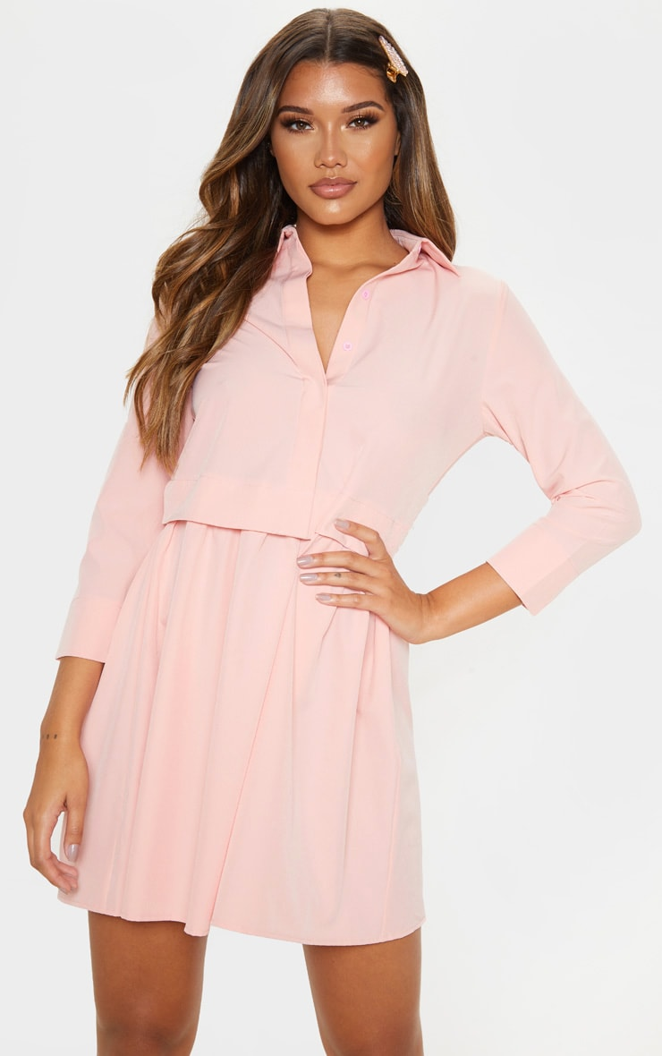 Robe chemise rose à effet superposé 1