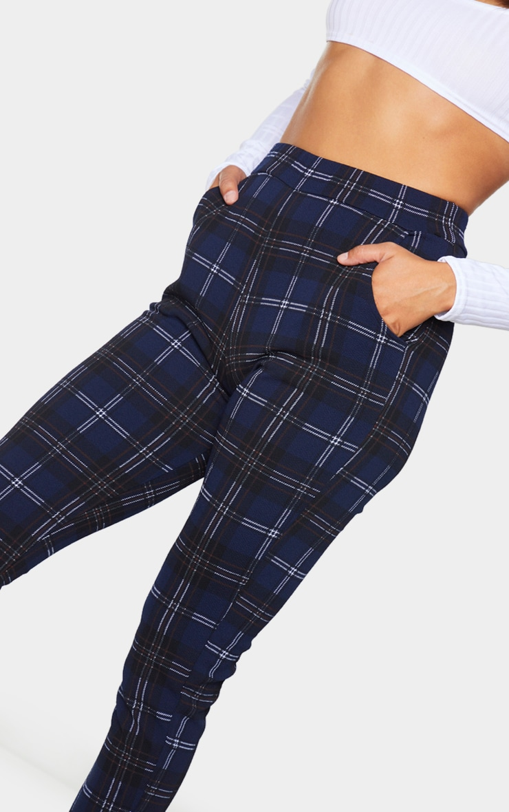 Navy Check Skinny Trousers 4