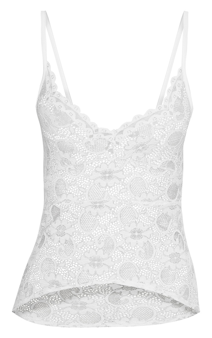 White Sheer Lace Cami Top  3