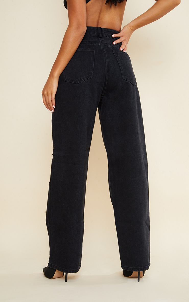 Petite Black Denim Baggy Low Rise Ripped Boyfriend Jeans 3