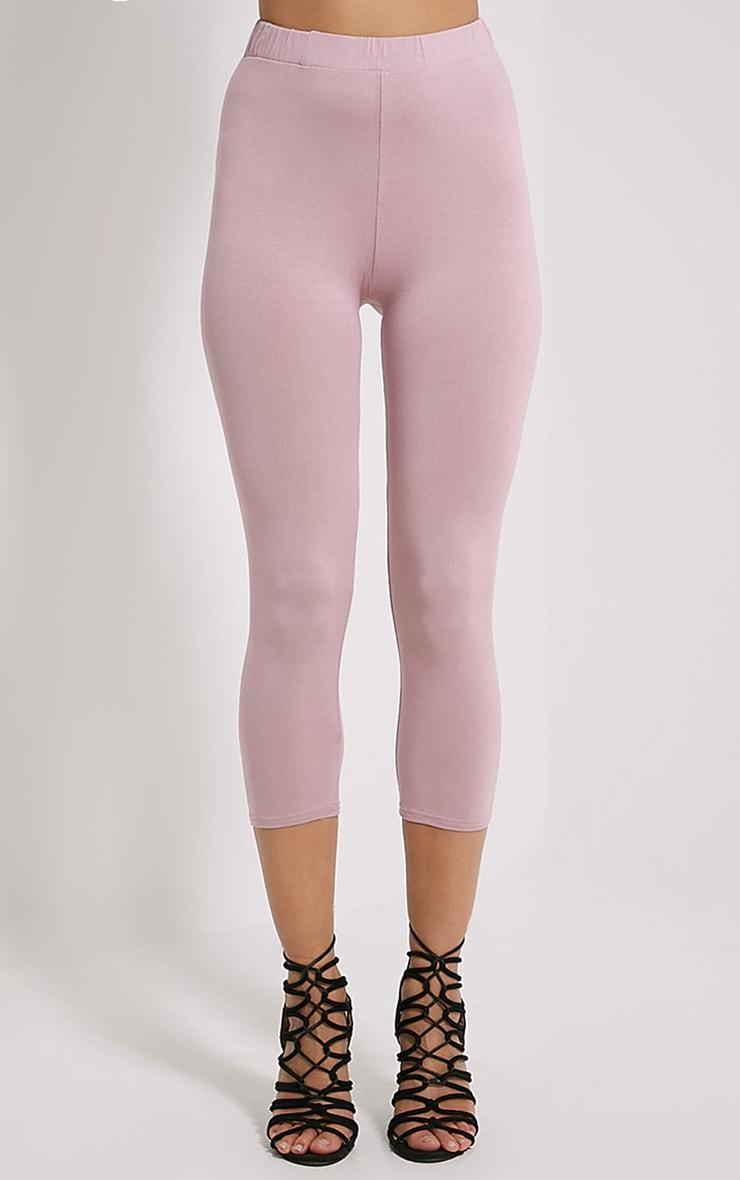 Basic Mauve Cropped Jersey Leggings 2