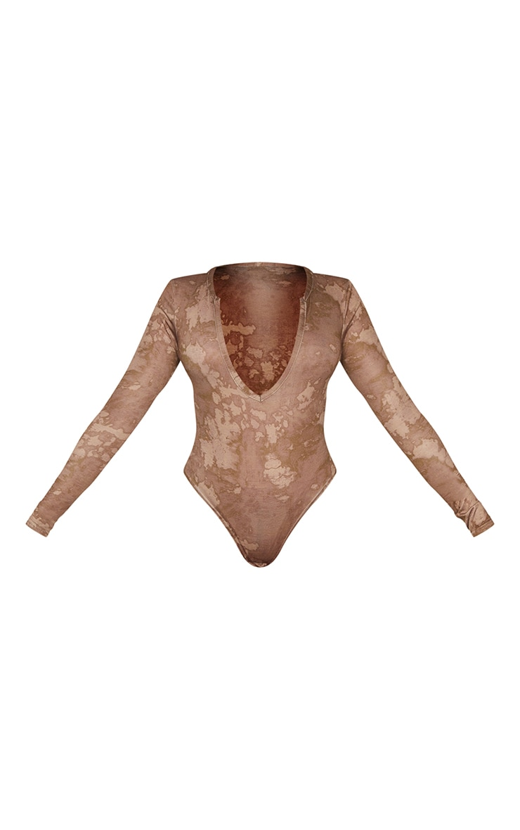 Basic Brown Acid Wash Plunge Long Sleeve Bodysuit 5