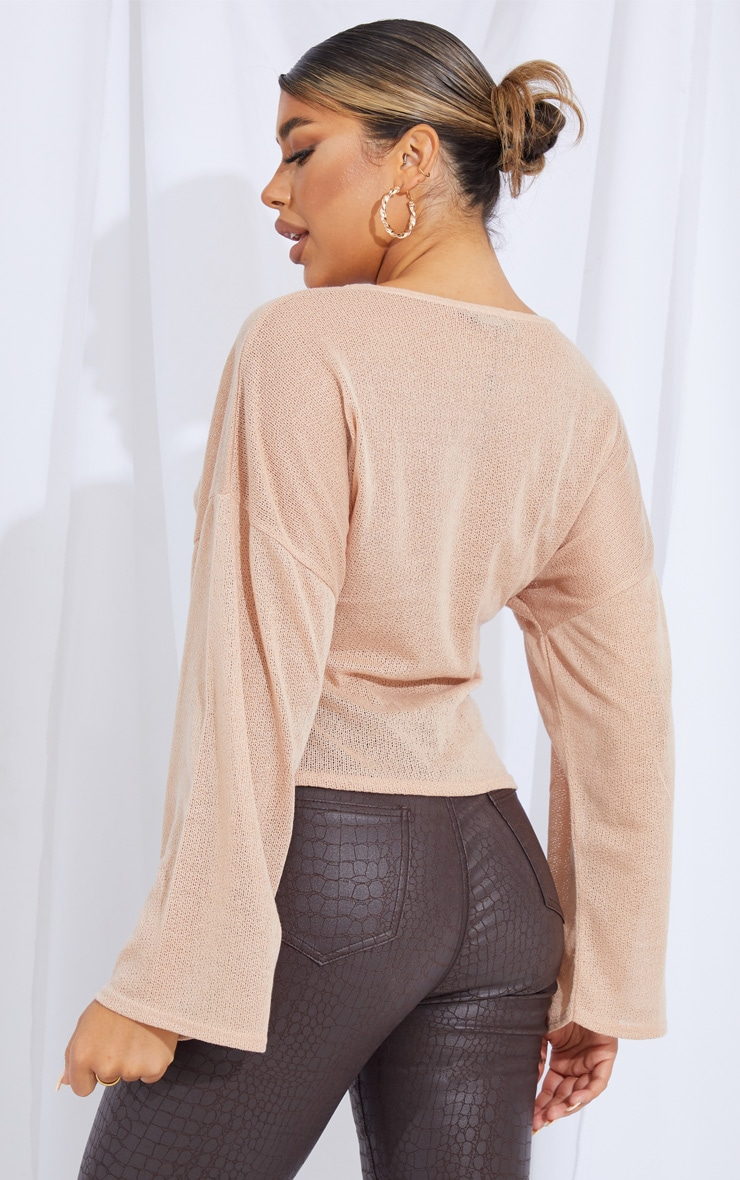 Stone Woven V Front Floaty Sleeve Blouse 2