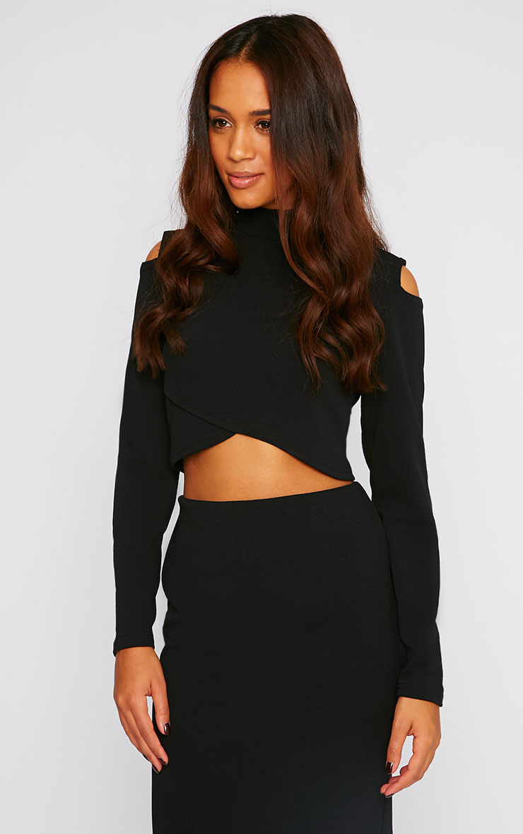 Alina Black Crepe Cut Out Wrap Over Turtle Neck Crop Top 1