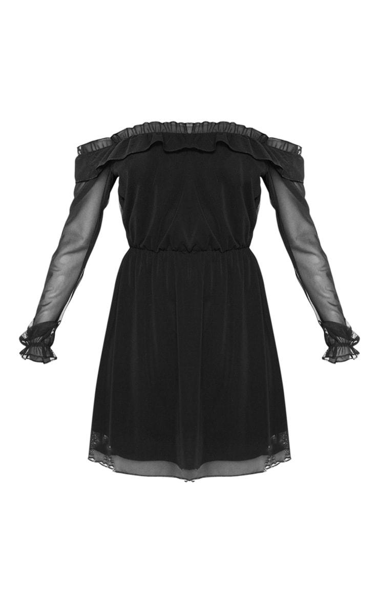 Black Mesh Bardot Skater Dress  3