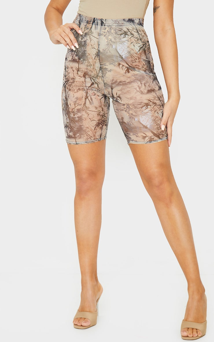 Nude Washed Oriental Print Mesh Cycle Shorts 2