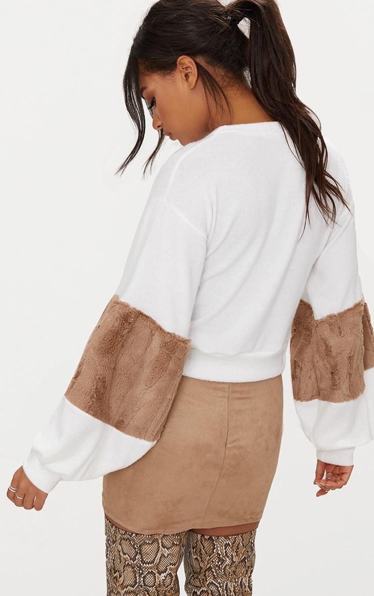 Mocha Faux Fur Sleeve Sweater  2